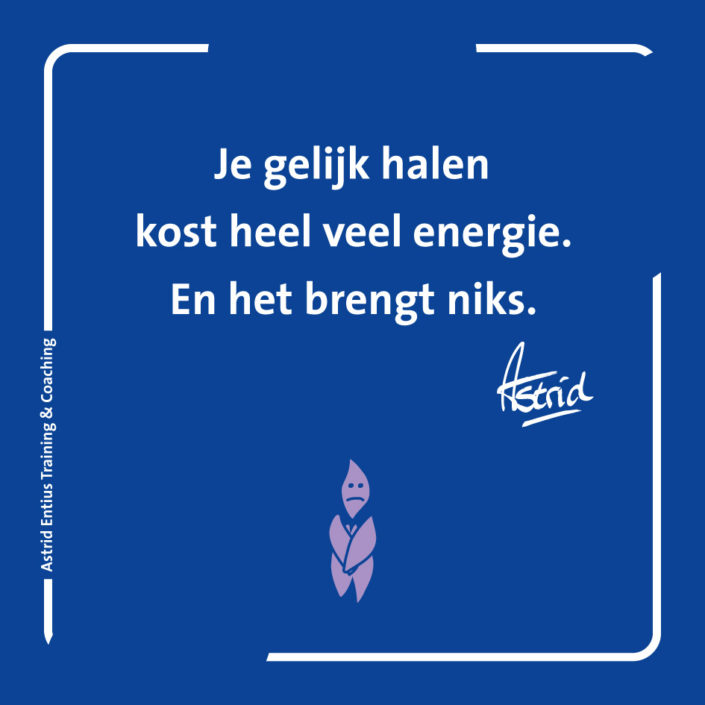 Inzicht – NLP – Entius – gelijk halen kost energie brengt niets